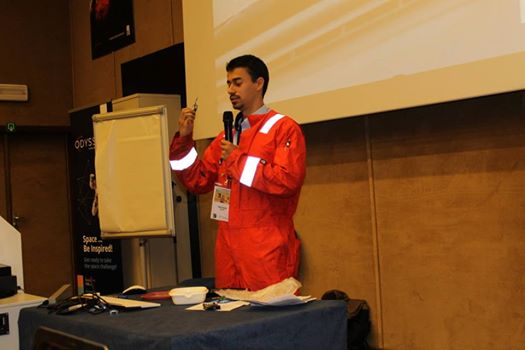 Me during the presentation of my project to implement space technology for firefighters