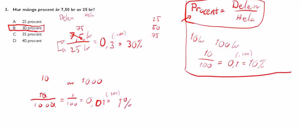 Screenshot from a video explaining one of the problems on a previous test